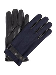 Linea Melton Leather Glove Navy