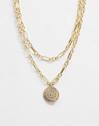 Warehouse Chunky Chain Pendant Necklace In Gold