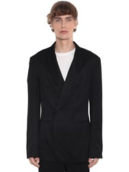 Haider Ackermann Double Breasted Viscose Blazer Black