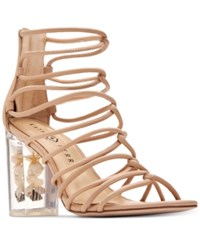 Katy Perry Janelle Seashell Lucite Block Heel Sandals Women's Shoes Nude