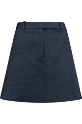 Carven Cotton And Linen Blend Mini Skirt Blue