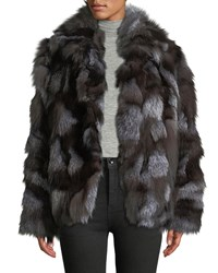 Halston Patched Fox Fur Jacket Charcoal