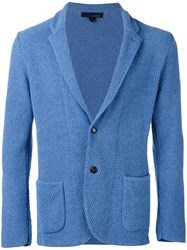 Lardini Textured Two Button Blazer Men Cotton Polyamide L Blue