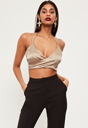 Missguided Nude Wrap Front Halter Neck Crop Top