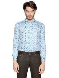 Etro Cat Print Peached Shirting Cotton Shirt