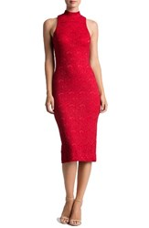 Dress The Population Women's Norah Lace Midi Red Black