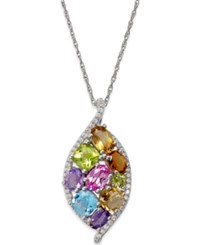Macy's Multicolor Gemstone 3 3 4 Ct. T.W. Pendant Necklace In Sterling Silver