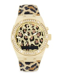 Guess Connect Stainless Steel Animal Print And Crystal Accented Smart Watch C0002m6 No Color