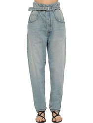 Etoile Isabel Marant Gloria High Waist Belted Denim Jeans Light Blue
