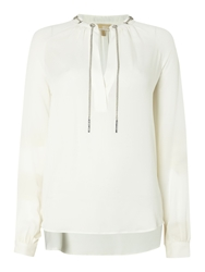 Michael Kors Long Sleeve Chain Silk Blouse White