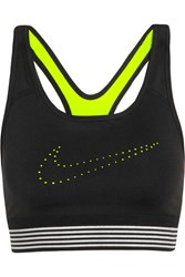 Nike Pro Classic Padded Mesh Trimmed Perforated Stretch Jersey Sports Bra Black