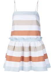 Tanya Taylor 'Baby Doll' Striped Peplum Top White