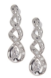 Sterling Silver White Diamond And Created White Sapphire Spiral Drop Earrings