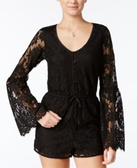American Rag Lace Bell Sleeve Romper Only At Macy's Classic Black