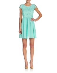 Romeo And Juliet Couture Lace And Chiffon Fit And Flare Dress Turquoise