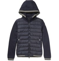 Moncler Moncer Magia Feece Back Cotton Jersey And She Down Jacket Navy