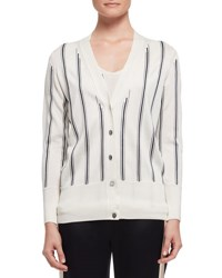 Lanvin Vertical Stripe V Neck Cardigan White Black