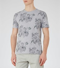 Reiss Michael Mens Floral Print T Shirt In Grey