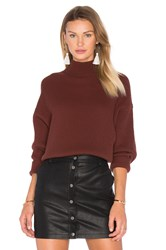 Autumn Cashmere Oversized Mock Neck Sweater Brown