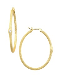 Freida Rothman Belargo 14K Vermeil Bezel Set Cz Hoop Earrings