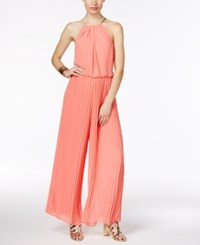 Thalia Sodi Pleated Halter Jumpsuit Only At Macy's Candy Coral