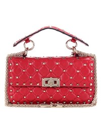 Valentino Rockstud Spike Small Quilted Leather Handbag Red
