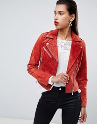 Morgan Suede Biker Jacket Rust Orange