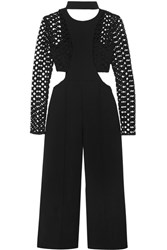Self Portrait Guipure Lace Paneled Cutout Crepe Jumpsuit Black