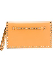 Valentino Garavani 'Rockstud' Clutch Yellow And Orange