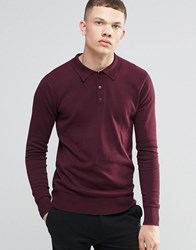 Brave Soul Long Sleeve Polo Shirt Red