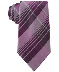 Calvin Klein Men's Schoolboy Chalk Plaid Slim Tie Fuchsia
