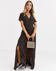 Daisy Street Button Through Maxi Dress With Splits In Ditsy Floral Black