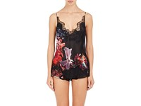 Carine Gilson Women's Floral Lace Trimmed Silk Georgette Camisole Black