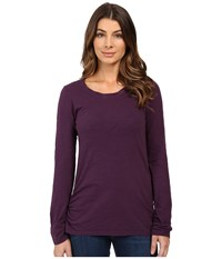 Mod O Doc Slub Jersey Long Sleeve Twisted Scoopneck Tee Aubergine Women's T Shirt Purple