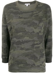 James Perse Camo Print Round Neck Jumper 60