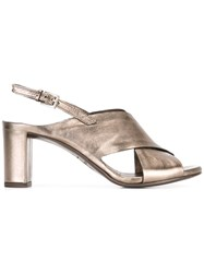 Roberto Del Carlo Chunky Heel Side Buckle Sandle Metallic
