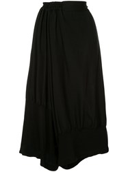 Y's Wide Leg Cropped Trousers Black