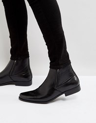 Asos Chelsea Boots In Black Faux Leather With Zips Black