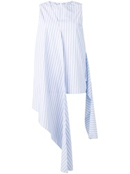 Joseph Striped Draped Sleeveless Top Blue