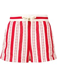 Bally Striped Woven Shorts Red