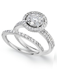 Prestige Unity Diamond Engagement Ring And Wedding Band Ring In 14K White Gold 1 1 4 Ct. T.W.