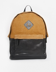 Asos Leather And Canvas Backpack Brown