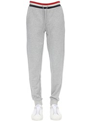 Moncler Tricolor Ribbed Cotton Jersey Sweatpants Grey