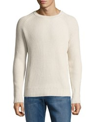 Black Brown Ribbed Cotton Sweater Bone White