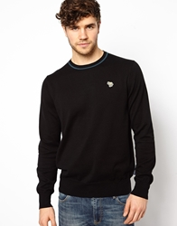 Paul Smith Jeans Crew Neck Jumper With Zebra Logo Black