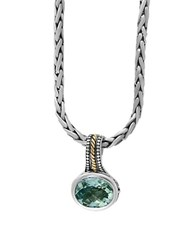 Effy 925 Sterling Silver 18K Yellow Gold And Green Amethyst Necklace