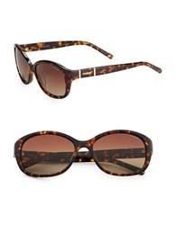 Polaroid 54Mm Tortoise Shell Round Sunglasses Brown