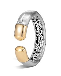 John Hardy 18K Yellow Gold And Brushed Sterling Silver Kick Cuff Gold Silver