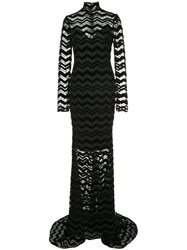 Christian Siriano Zigzag Panel Gown Black