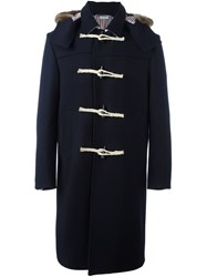 Thom Browne Fur Trim Hooded Coat Blue
